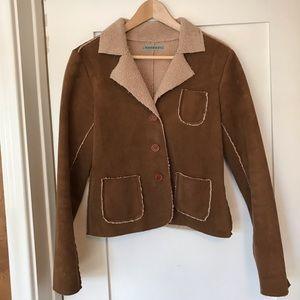 Velvet fleece jacket, brown, large, vegan